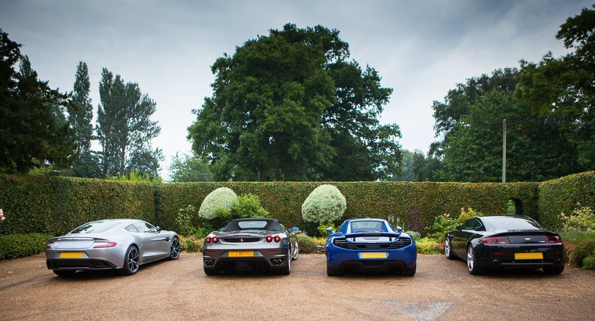 Group of sports cars at a recent wedding