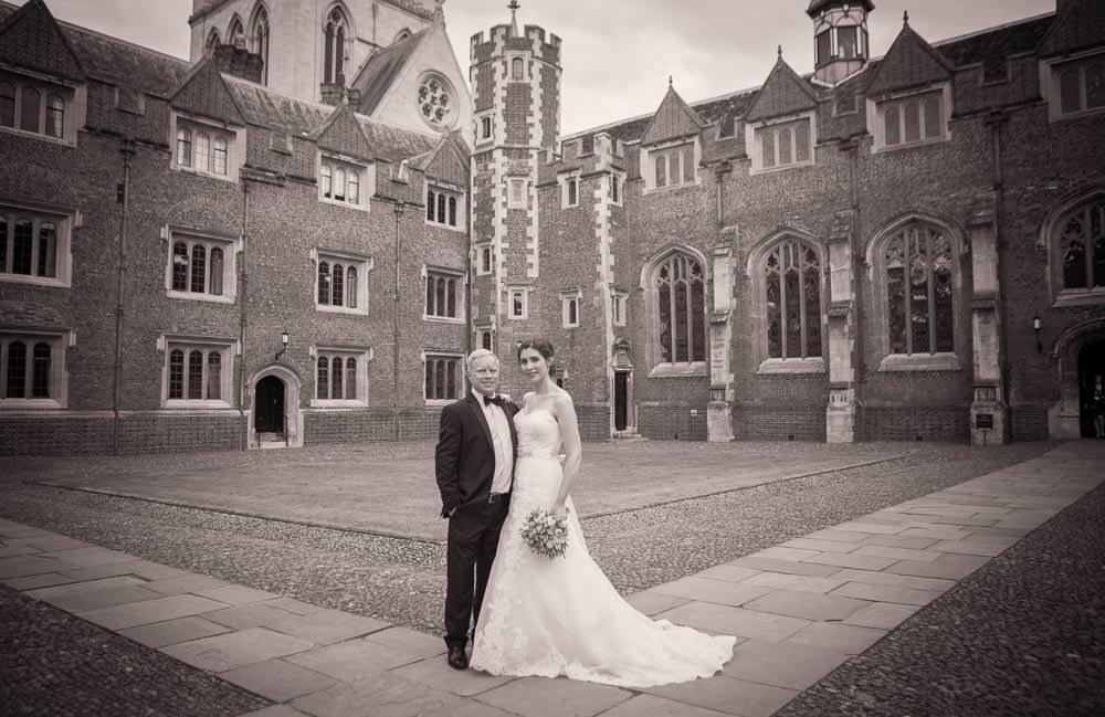 Bride and groom in St John's college wedding