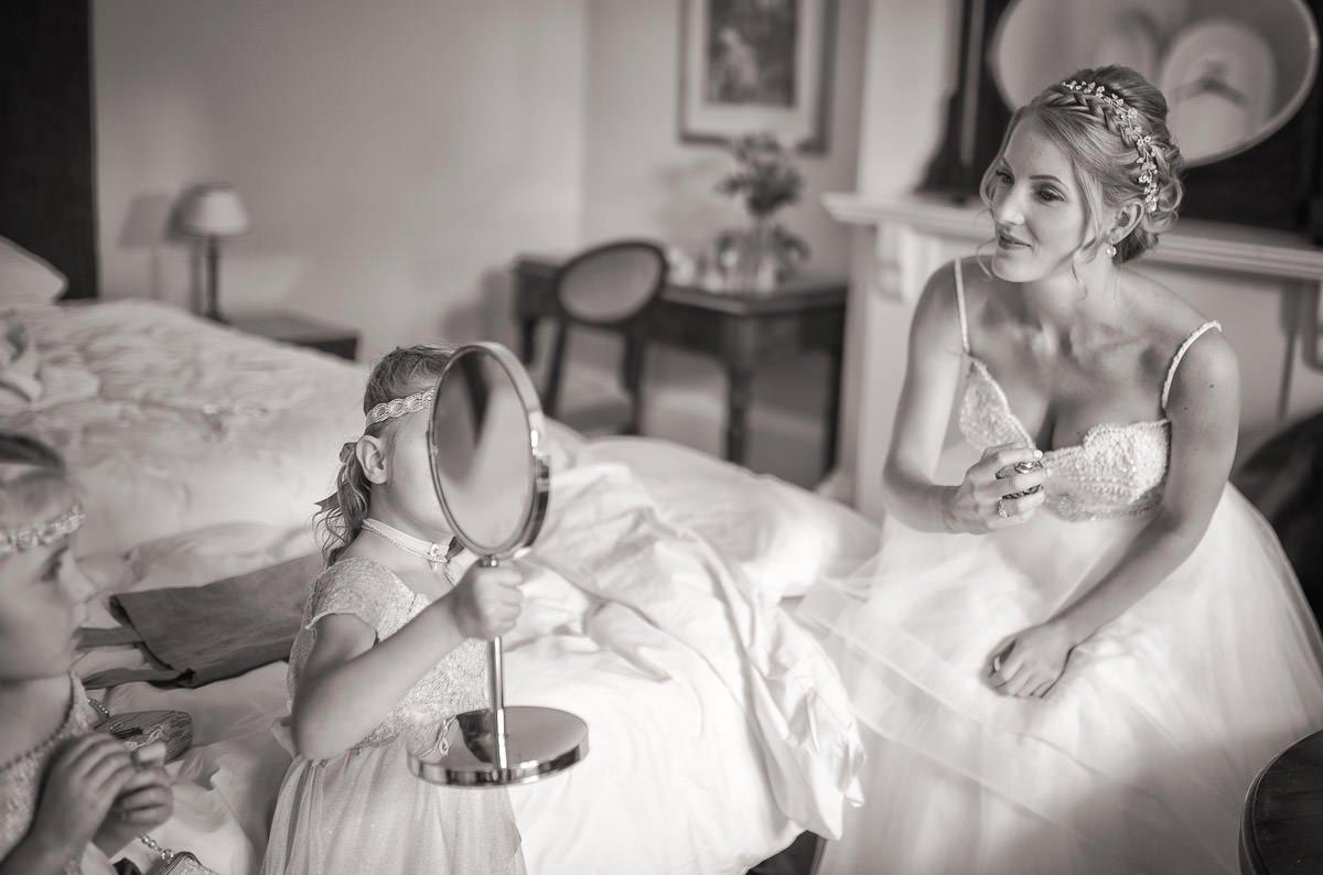 Bride during bridal prep at Quy Mill wedding