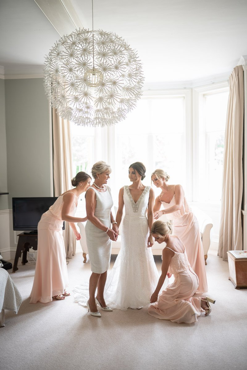 Bride and bridesmaids at Chippenham Wedding