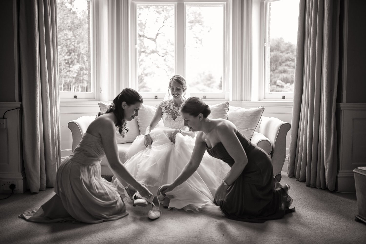 Bridal Prep at Chippenham Wedding in Black and White