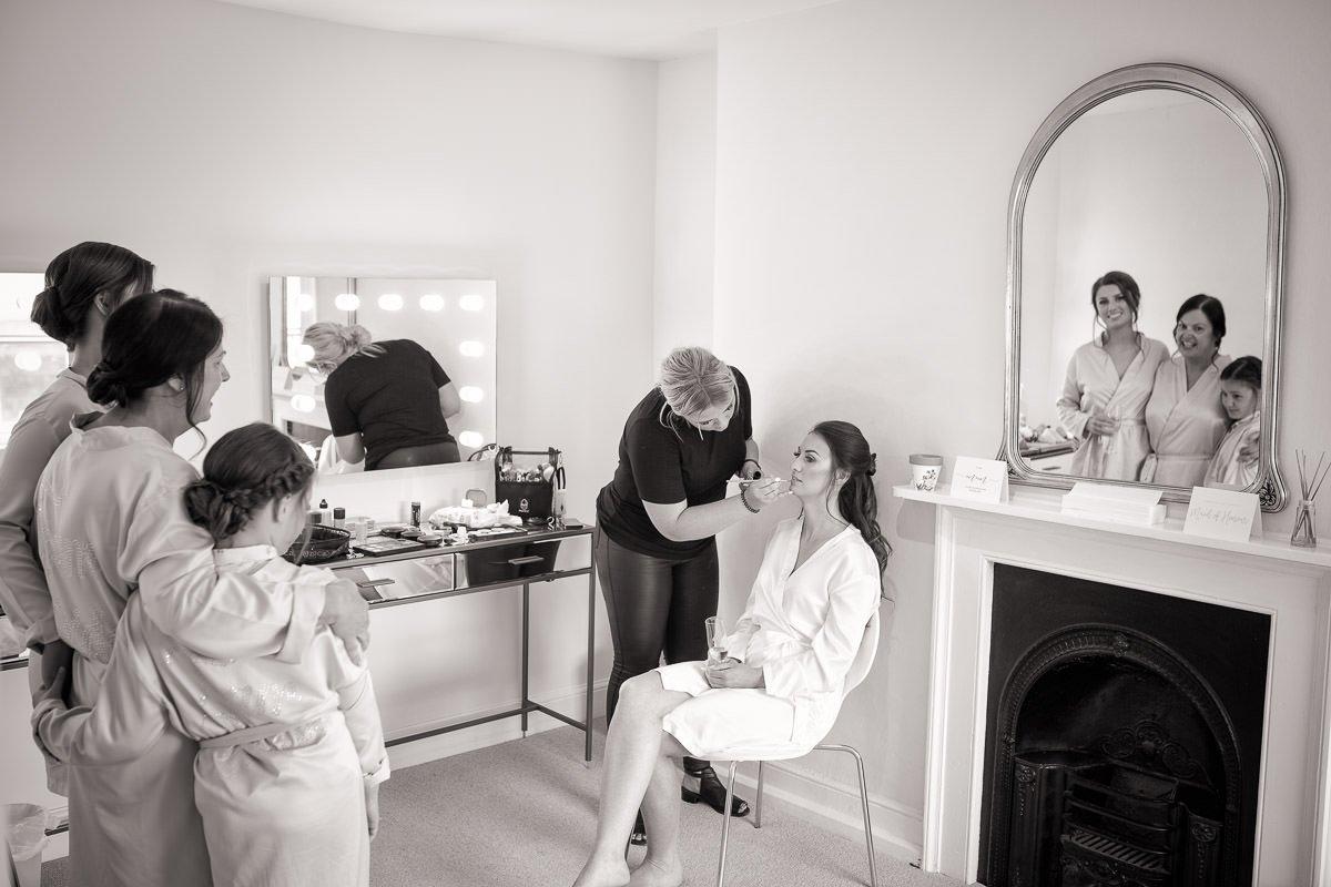 Bride in Longstowe Hall Bridal prep suite