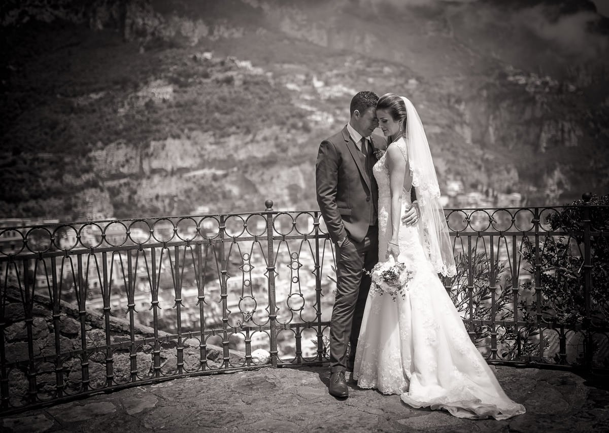 Bride and Groom in Positano by destination wedding photographer