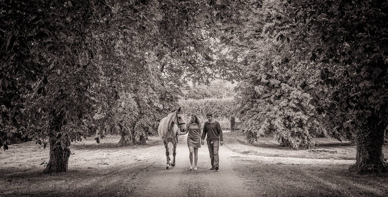 Man and woman walking along a tree lined avenue walking their horse, photographed in black and white