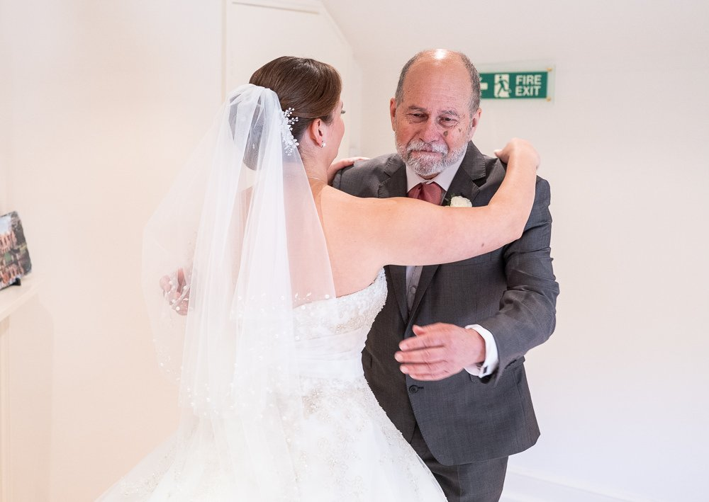 Father's first look at his daughter during Longstowe Wedding