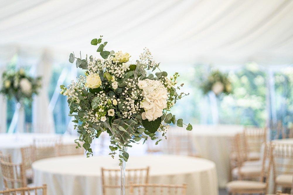 Wedding detail of flower centre piece at Longstowe Wedding