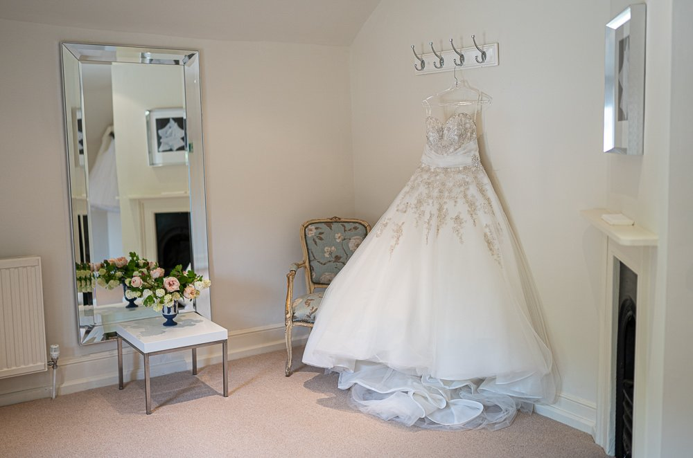 Bridal suit showing bridal gown at Longstowe Wedding