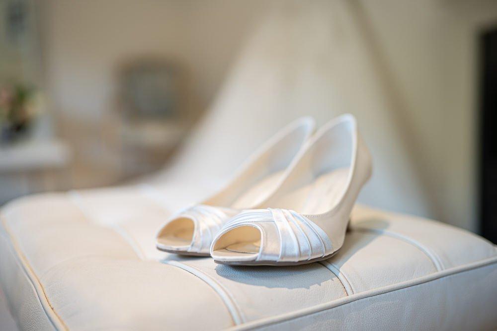 Bridal shoes at Longstowe Wedding