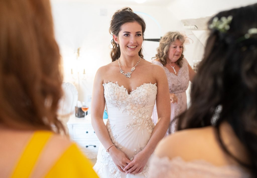 Sheen Mill Wedding - bride is dressed and ready for her wedding day
