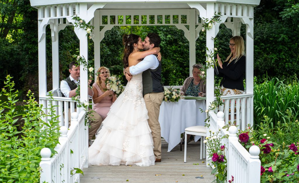 Bride and Groom's first kiss as they are announced married, sheen mill