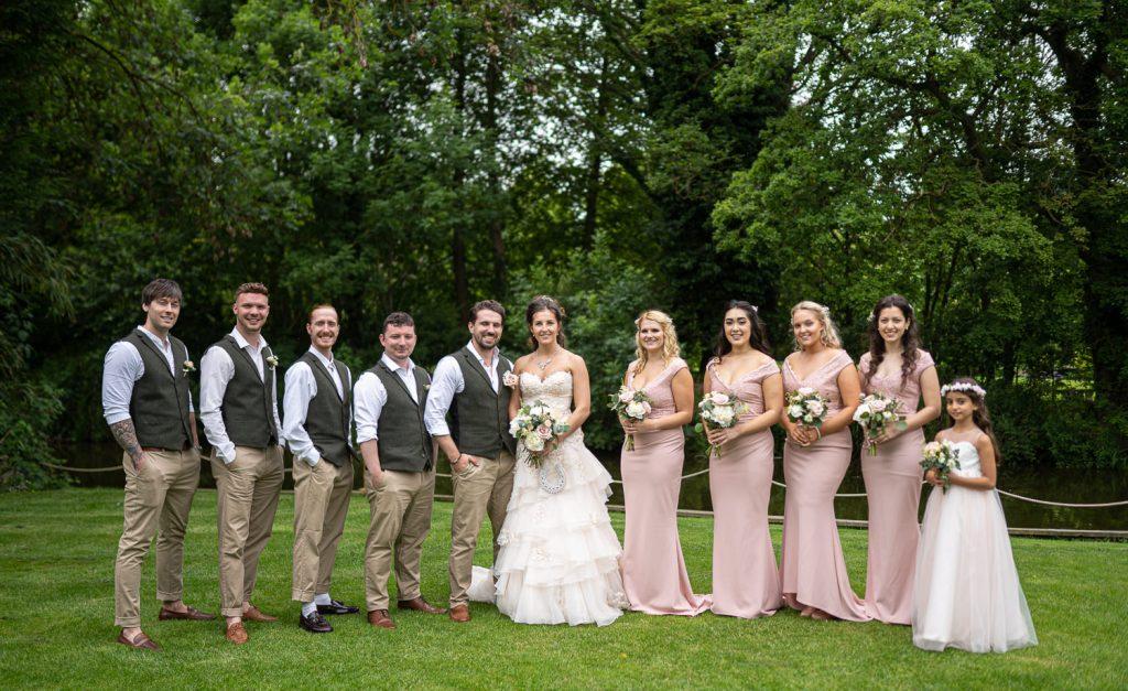 Entire bridal party formal shot at Sheen Mill Wedding