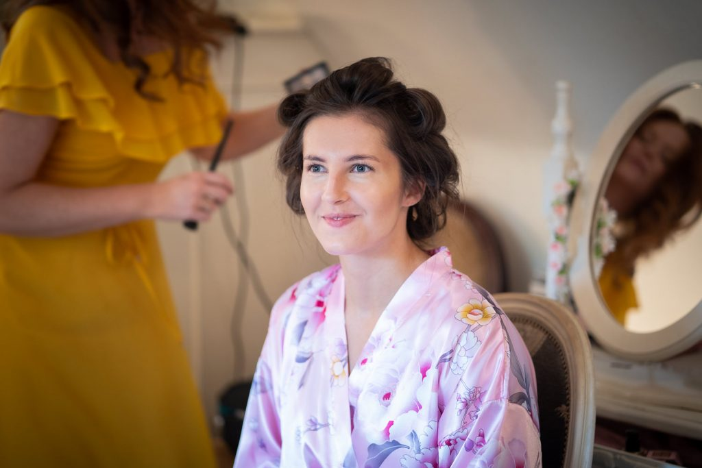 Stunning bride getting ready at the bridal suit at a Sheen Mill Wedding