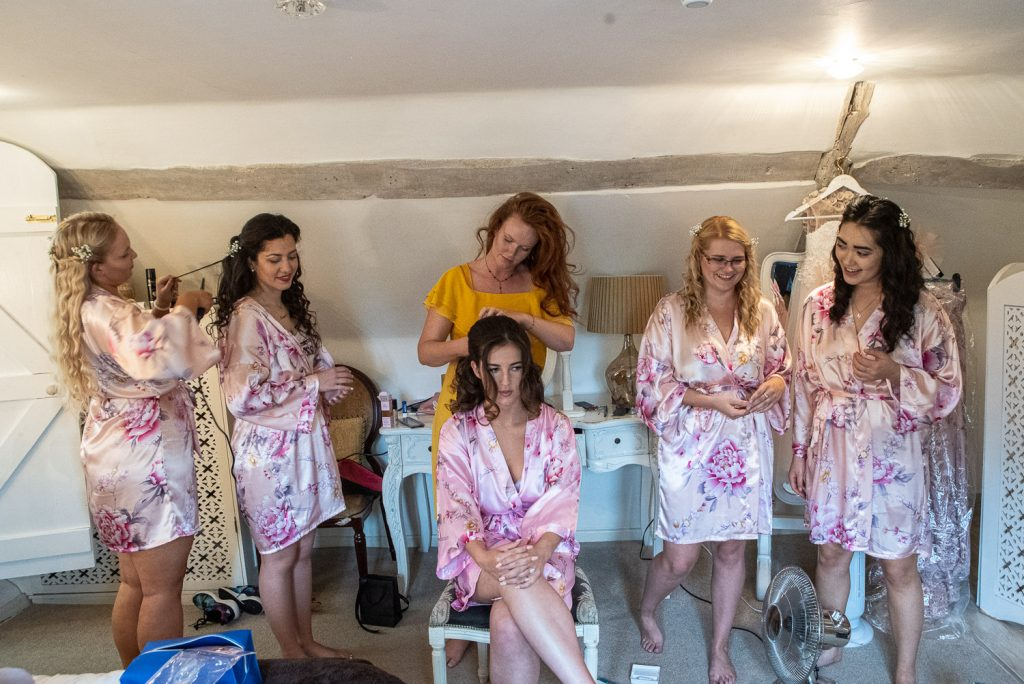 Bride and her bridesmaids getting ready at Sheen Mill Wedding