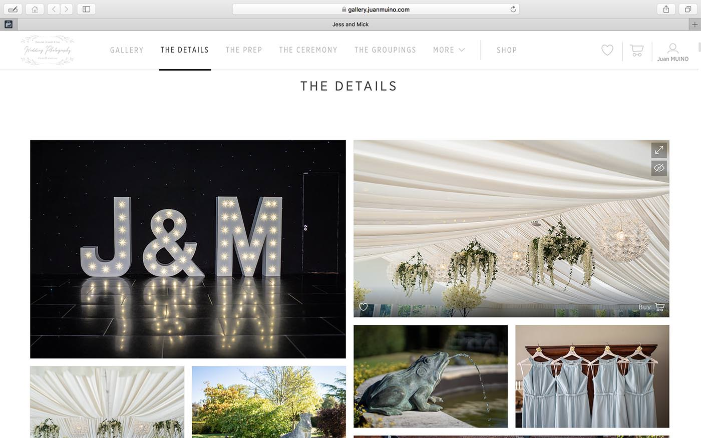 Screenshot showing our lovely new client proofing gallery, this images shows a montage of wedding detail images.