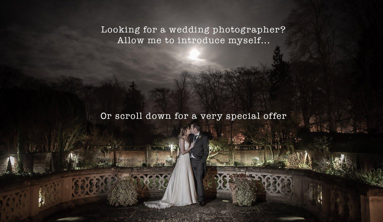 Shot of bride and groom at night, at Lanwades hall.