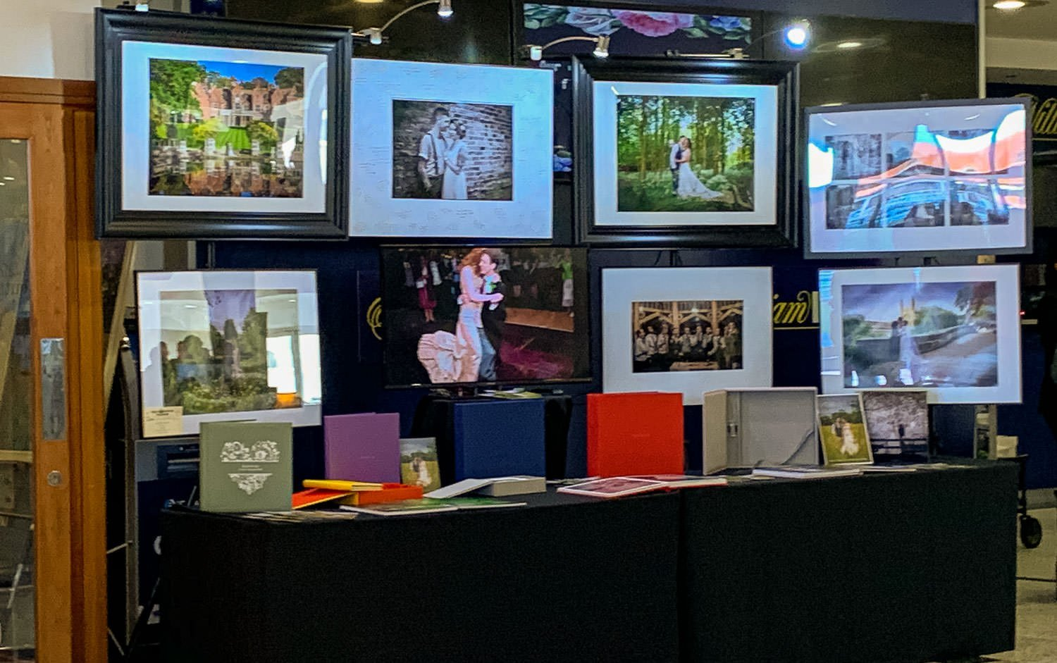 Showing an exhibit at a cambridge wedding fair, showing our wedding photography exhibit.