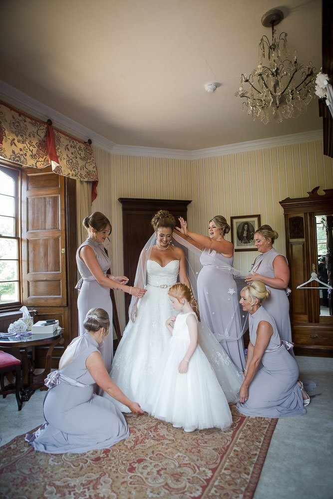 Bride getting ready at Hockwold Hall