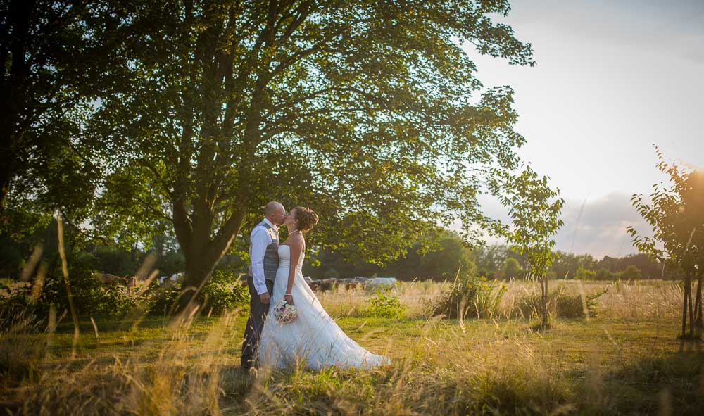 Bride and Groom kissing in a meadow at sunset at Hockwold hall Wedding