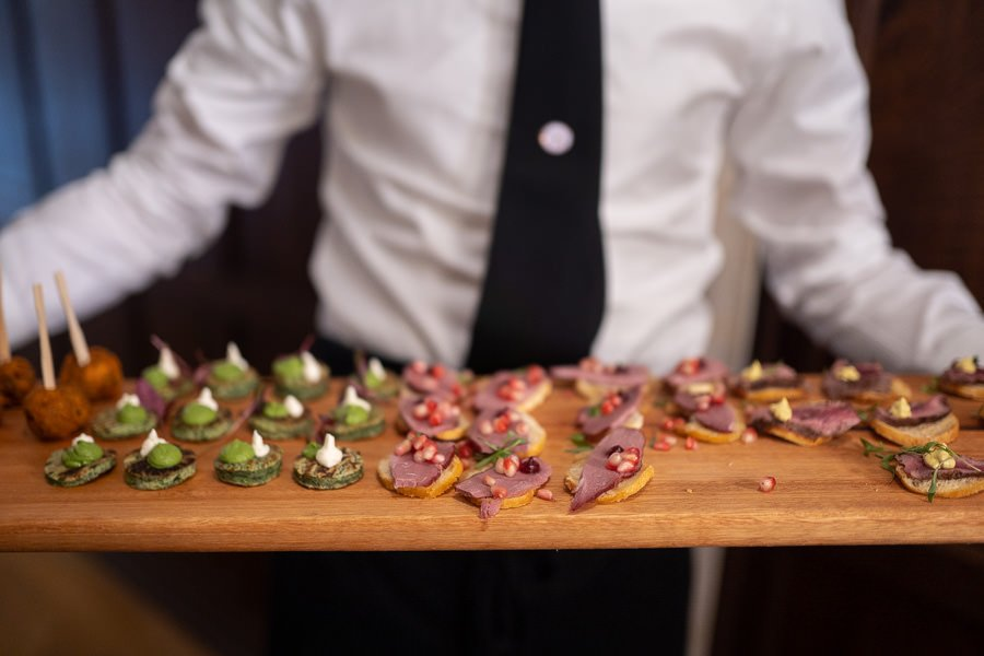 Plate of wedding nibbles presented at this Lanwades Hall Wedding