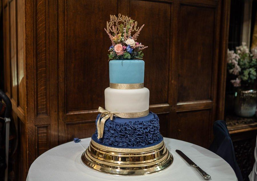 Beautiful three tier wedding cake.