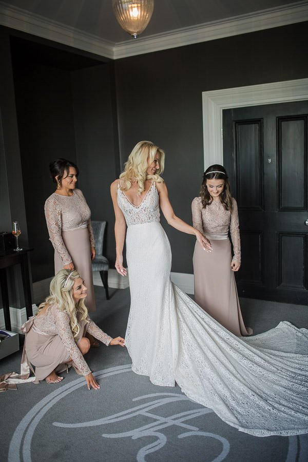 Bride and maids getting ready