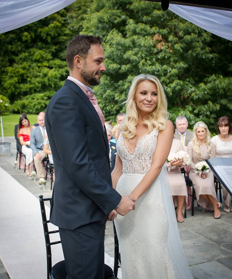 Ceremony shot of bride and groom
