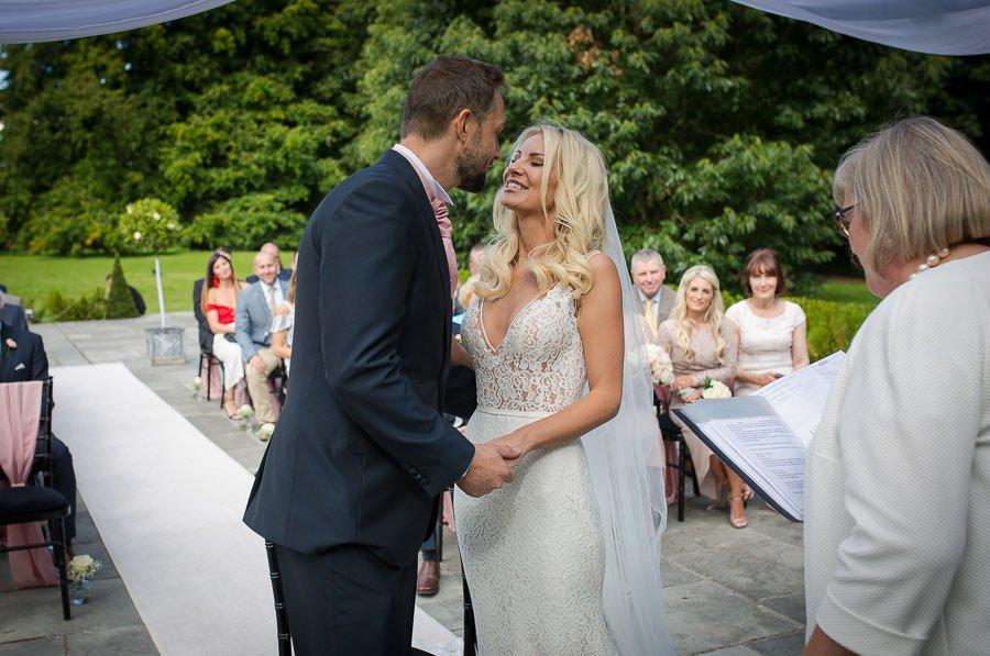 First kiss at Swynford Manor Wedding