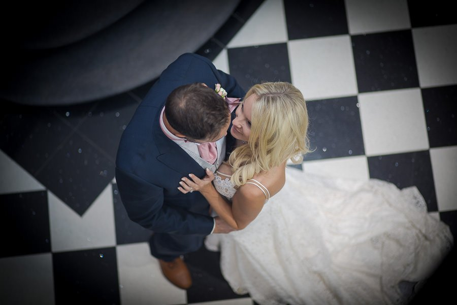 Bride and grooms first dance, shot from above