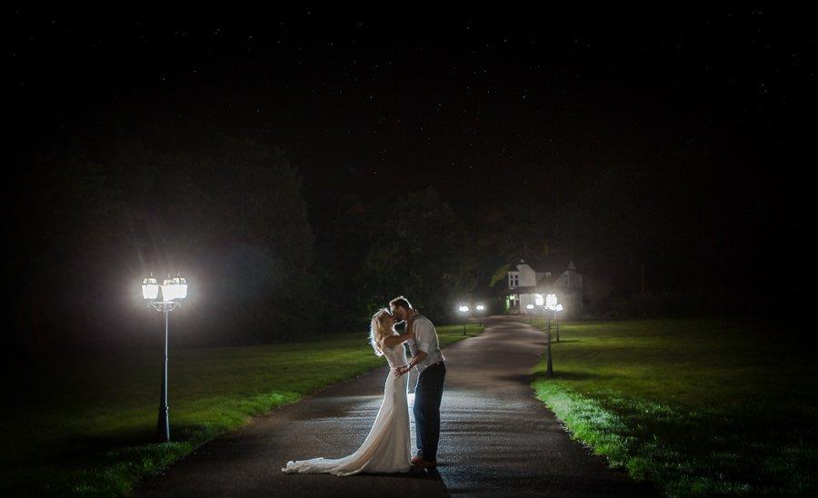 Swynford Manor Wedding Shot at night of bride and groom