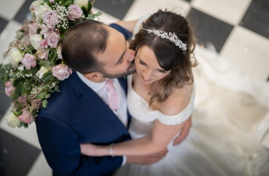 Bride and groom first dance, photographed from above at Swynford Wedding