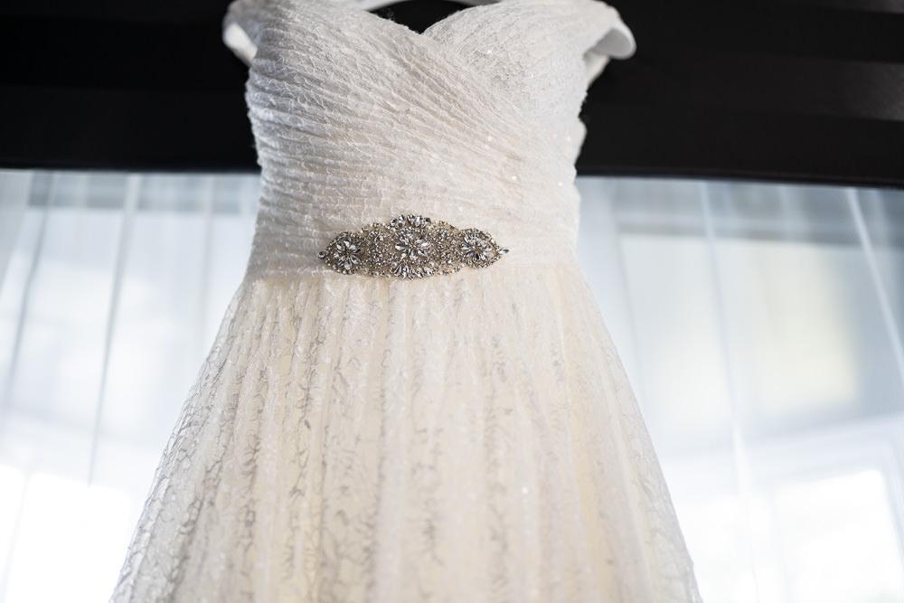 Beautiful wedding dress hanging up