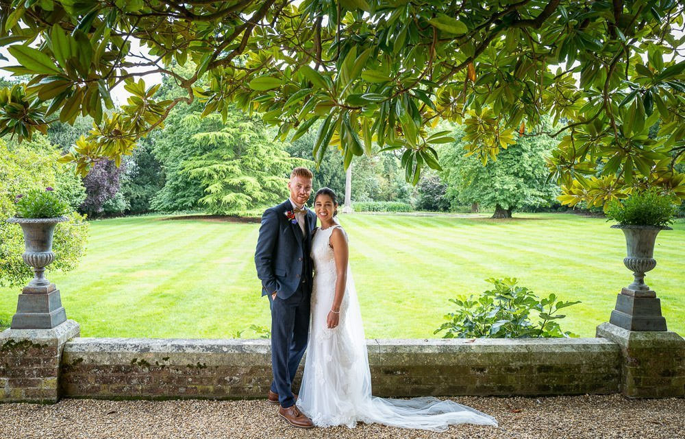 Bridal portraits at intimate wedding at Holmewood Hall