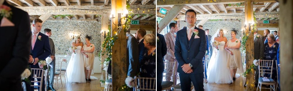 Two shot colour montage. First shot is of Bride and he rmother walking into ceremony, second shot is bride arriving to he rgroom. Cambridge Wedding Photographer