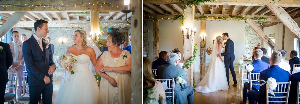 Two shot montage in colour. First shot is of the first look, second shot is of the first kiss, photographed from behind. Cambridge Wedding Photographer at The Granary-Barns.