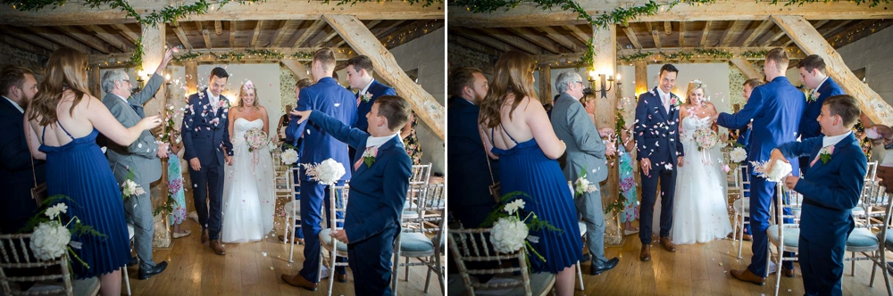 Two shot colour montage of bride and groom walking down the isle as confetti has been thrown. Cambridge Wedding Photographer