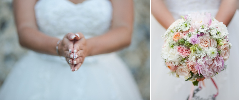 Two shot montage, first shot is a close up of the bride holding her wedding ring. Second shot is a close up of the floral bouquet. Cambridge Wedding Photographer