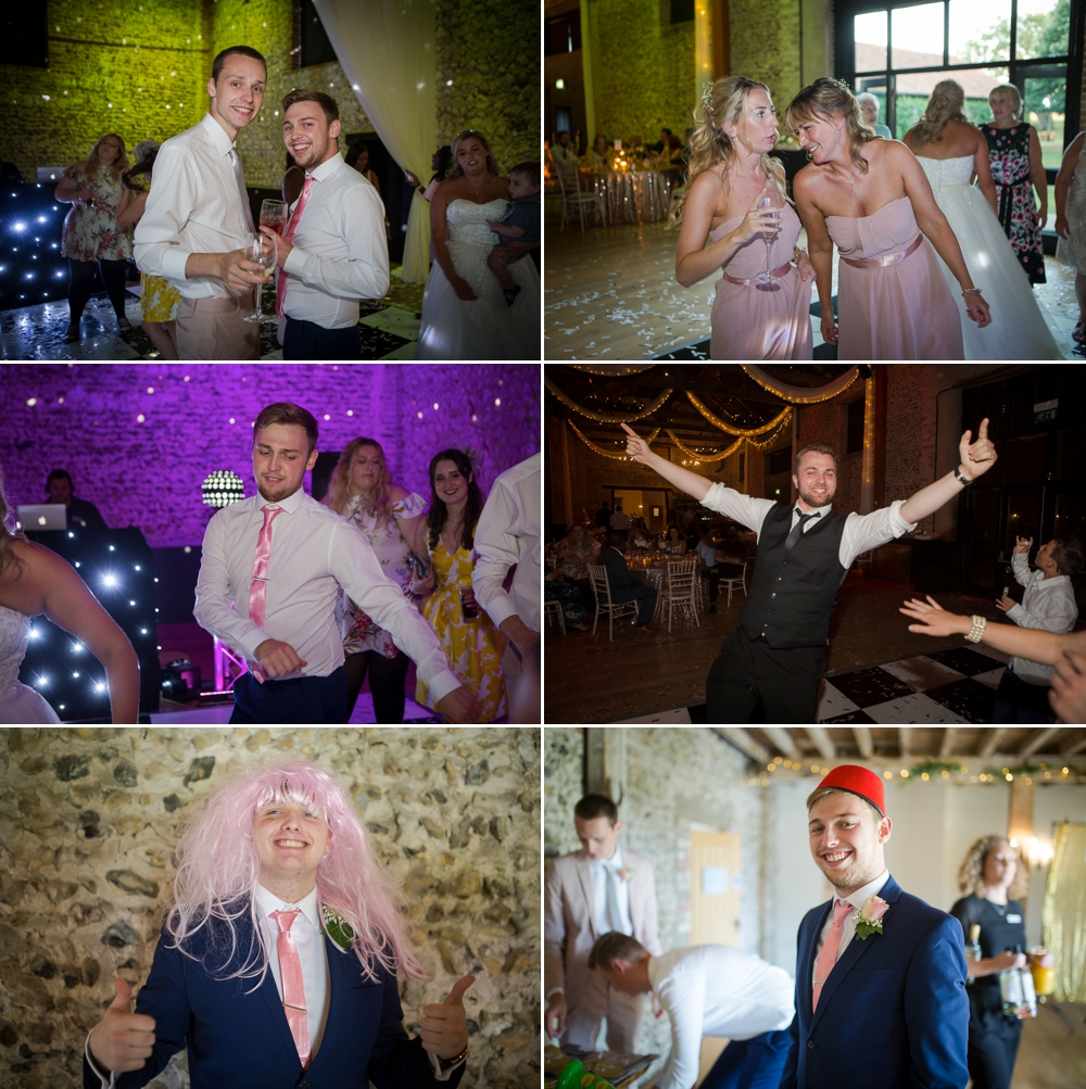 Montage of six party shots showing various guests dancing and having fun, Cambridge Wedding Photographer at The Granary-Barns.