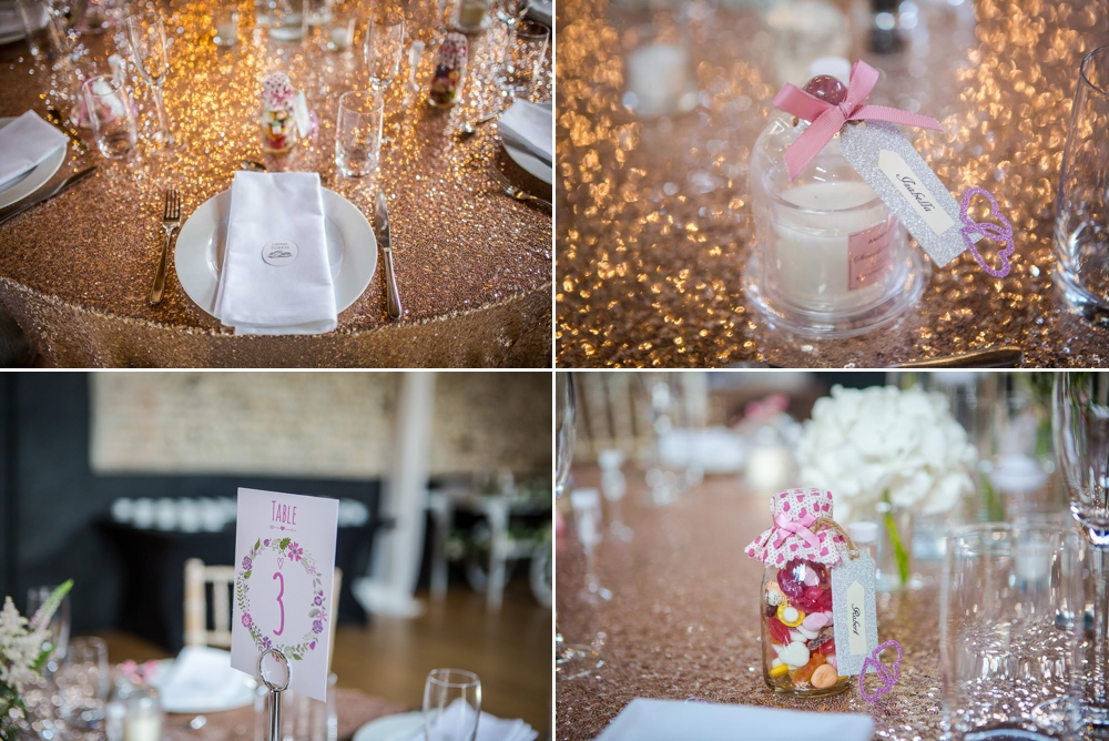 Four shot montage featuring the table decor and details