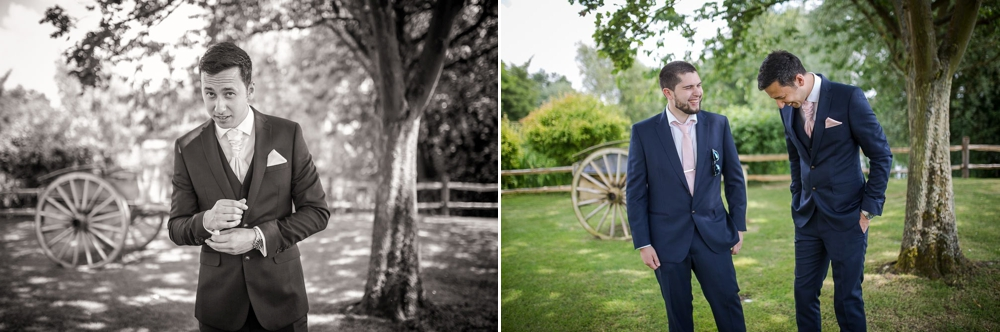 Two shot montage. First shot is in black and white of the groom. Second shot is of groom and best man laughing. Cambridge wedding photographer