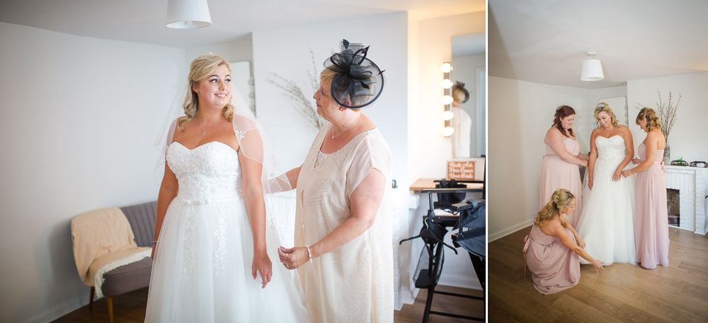 Two shot montage. First shot is of brie and her mother, bride in wedding dress. Second shot is of bride being dressed by bridesmaids
