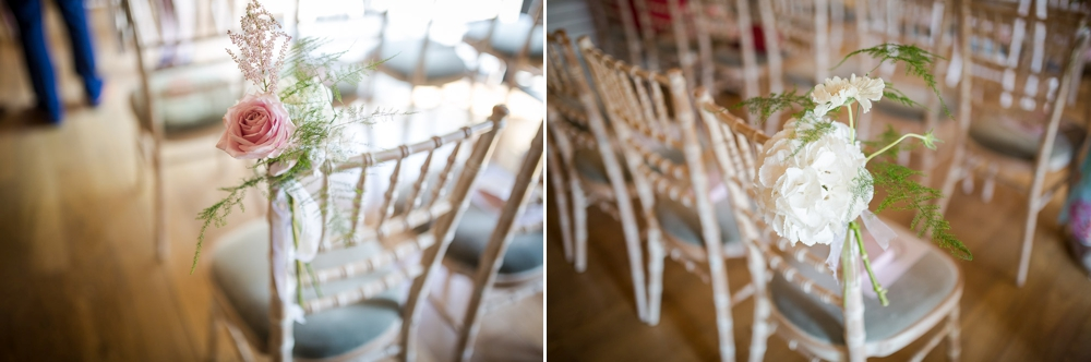 Two shot montage of chair decorations featuring flowers by Cambridge Wedding Photographer