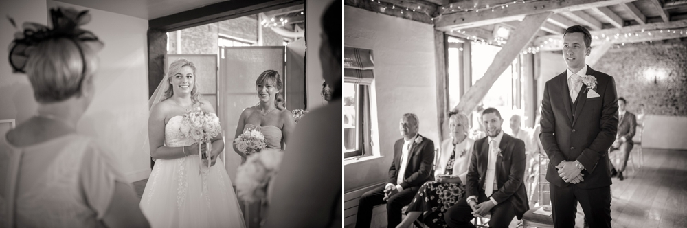 Two shot montage. Both in black and white. First shot is bride smiling before ceremony. Second shot is of Groom waiting patiently for bride to arrive. Cambridge Wedding Photographer