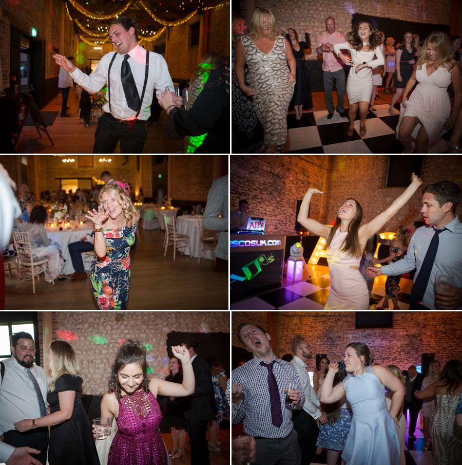Six shots of guests dancing and having lots of fun at a wedding.
