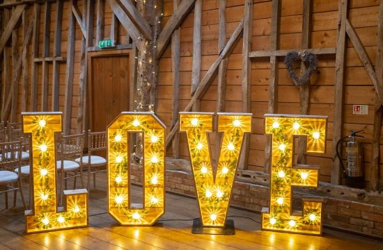 Light Up LOVE letters illustrating an article about Recommended weddings suppliers for cambridge wedding photographer