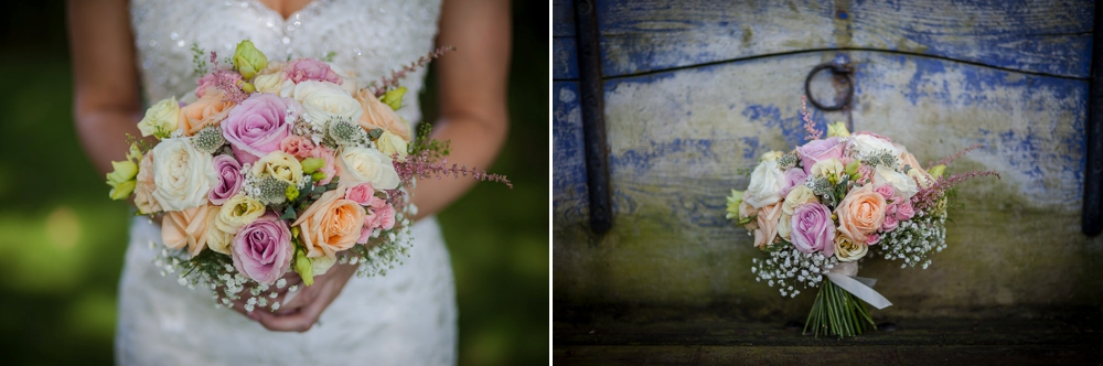 Two images showing the bridal bouquet at The Granary Barns Wedding