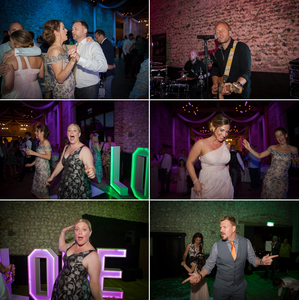 Montage of six shots of guests partying in the main barn.