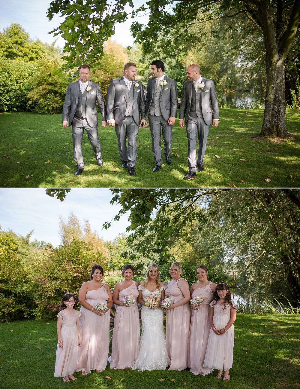 Two shots showing the groom party and the next shot is the bridal part at The Granary Barns Wedding