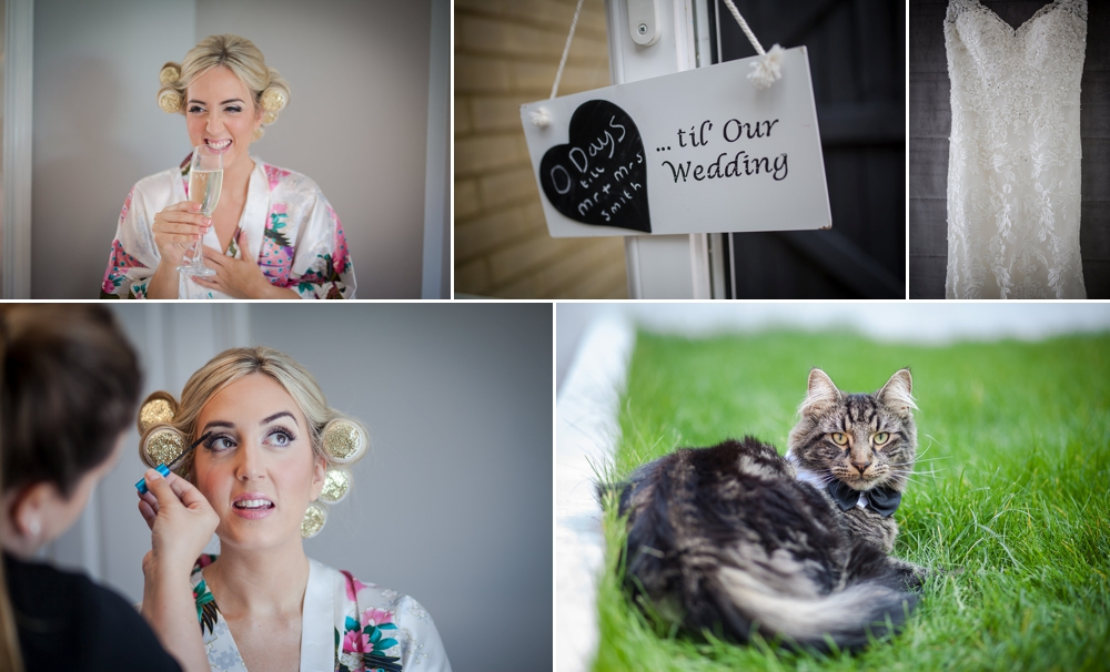 Photo montage showing various images of bridal prep, including an image of the family cat wearing a bow tie. The Granary Barns Wedding
