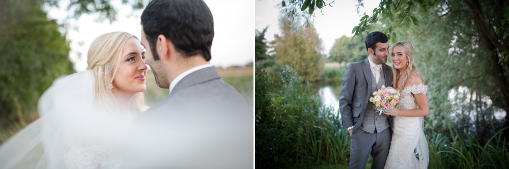 two shots one image is f bride looking into her husbands eyes. Second shot is a portrait image of the bride and groom standing infant of a lake at The Granary Barns Wedding.