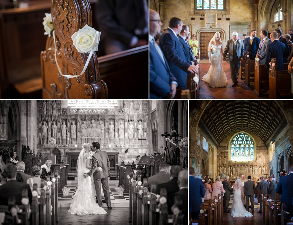 Photo montage, 1st image is of a floral decoration on a pew. Second shot is the bride and father walking down the isle. Third shot is black and white image of bride and groom kissing . Shot four is bride and groom standing at the isle.